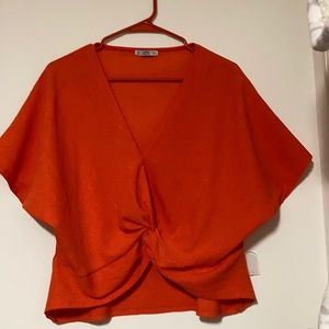 Zara V Neck Crop Top Size L